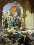 Entry of the Turks of Mohammed II (1432-81) into Constantinople, 29th May 1453, 1876 (oil on canvas) Fine Art Print by James Sharples