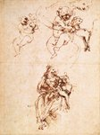 Studies for a Madonna with a Cat, c.1478-80 (pen and ink on paper) Wall Art & Canvas Prints by Leonardo Da Vinci