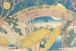 Fan Bridge by Moonlight, from 'Views of Mount Tempo', 1834 (woodblock print) (see also 17723) Fine Art Print by N. and Ives, J.M. Currier