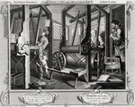 Industry and Idleness, The Fellow'Prentices at their Looms, plate 1, 1747 Fine Art Print by Lincoln Seligman