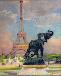The Eiffel Tower and the Elephant by Fremiet (oil on canvas) Fine Art Print by Jules Ernest Renoux