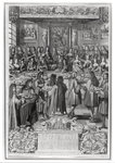 Dinner of Louis XIV (1638-1715) at the Hotel de ville, 30th January 1687, from Calendar of the year 1688 (engraving) (b/w photo) Postcards, Greetings Cards, Art Prints, Canvas, Framed Pictures, T-shirts & Wall Art by Martin II Mytens or Meytens