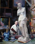 Ernest Renoux in his Studio, 50, rue Saint-Didier (oil on canvas) Fine Art Print by Hermann Kauffmann