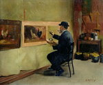 Charles Philippe Gevens, father-in-law of the artist, painting in his studio 21, avenue d'Eylau Fine Art Print by Thomas Couture