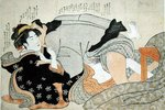 A Shunga Scene Wall Art & Canvas Prints by Kitagawa Utamaro