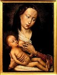 Virgin and Child (oil on panel) Postcards, Greetings Cards, Art Prints, Canvas, Framed Pictures, T-shirts & Wall Art by Hans Memling