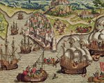Naval Combat, illustration from 'Americae Tertia Pars...', 1592 (coloured engraving) Wall Art & Canvas Prints by French School