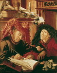 Two Tax Gatherers, c.1540 (oil on panel) Wall Art & Canvas Prints by Marinus van Roejmerswaelen