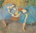 Two Dancers at Rest or, Dancers in Blue, c.1898 (pastel on paper) Postcards, Greetings Cards, Art Prints, Canvas, Framed Pictures, T-shirts & Wall Art by Edgar Degas