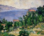 View of Mount Marseilleveyre and the Isle of Maire, c.1882-85 (oil on canvas) Postcards, Greetings Cards, Art Prints, Canvas, Framed Pictures, T-shirts & Wall Art by Paul Cezanne