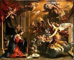 The Annunciation (oil on canvas) Fine Art Print by Luca Giordano