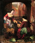 The Vegetable Seller Fine Art Print by Mexican School