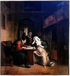 The Patient and the Doctor (oil on panel) Fine Art Print by Thomas Rowlandson