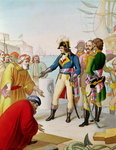 The Disembarkation of Napoleon (1769-1821) at Alexandria in 1798 (coloured engraving)