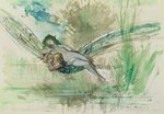 Dragonfly, c.1884 (w/c on paper) Postcards, Greetings Cards, Art Prints, Canvas, Framed Pictures & Wall Art by Odilon Redon