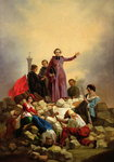 Archbishop Affre on the Barricades, 1848 (oil on canvas) Postcards, Greetings Cards, Art Prints, Canvas, Framed Pictures, T-shirts & Wall Art by French School