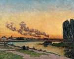 Setting Sun at Ivry, c.1872-73 (oil on canvas) Fine Art Print by Claude Monet