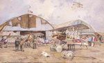 The Airfield, 1918 (w/c on paper) Fine Art Print by Francois Flameng