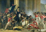 Scene of the 1830 Revolution at the Louvre (oil on canvas) Postcards, Greetings Cards, Art Prints, Canvas, Framed Pictures, T-shirts & Wall Art by Lesueur Brothers