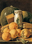 Still Life of Oranges, Watermelon, a Pot and Boxes of Cake (oil on canvas) Wall Art & Canvas Prints by William Henry Hunt