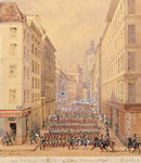 March of the First Battalion, Rue Culture Sainte-Catherine, 1st February 1848 (gouache on paper) Postcards, Greetings Cards, Art Prints, Canvas, Framed Pictures, T-shirts & Wall Art by Richard Caton Woodville