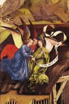 Nativity, detail of three angels, c.1425 (oil on panel) (detail of 128673) Fine Art Print by James Sharples