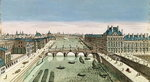 Perspective View of Paris from the Pont Royal (coloured engraving) Fine Art Print by Etienne Bouhot