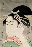 Head of a Woman (colour woodblock print)