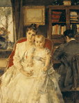 All Happiness (Family Scene) c.1880 (oil on canvas) Postcards, Greetings Cards, Art Prints, Canvas, Framed Pictures, T-shirts & Wall Art by Sir John Everett Millais