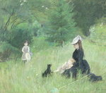 In a Park, c.1874 (pastel on paper) Fine Art Print by Marguerite Gerard