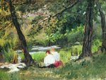 Two Seated Women Fine Art Print by Pierre-Auguste Renoir