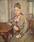 Madame Cezanne Leaning on a Table, 1873-77 (oil on canvas) Wall Art & Canvas Prints by Paul Cezanne