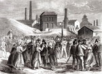 Women Demonstrating at the Le Creusot coal mine in April 1870 (engraving) (b/w photo) Wall Art & Canvas Prints by P.J. Crook