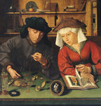 The Money Lender and his Wife, 1514 Fine Art Print by German School