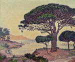 Umbrella Pines at Caroubiers, 1898 (oil on canvas) Wall Art & Canvas Prints by Theo van Rysselberghe