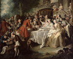 The Hunt Lunch, detail of the diners, 1737 (oil on canvas) Postcards, Greetings Cards, Art Prints, Canvas, Framed Pictures & Wall Art by Nicolas Lancret
