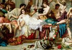 The Romans of the Decadence, detail of the central group, 1847 (oil on canvas) (detail of 36568) Wall Art & Canvas Prints by Thomas Couture