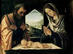 The Nativity, c.1490 (oil on panel) Wall Art & Canvas Prints by Camillo Procaccini