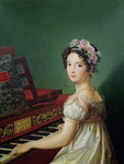 The Artist's Daughter at the Clavichord (oil on canvas) Wall Art & Canvas Prints by Carlo Bevilacqua