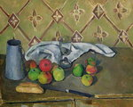Fruit, Serviette and Milk Jug, c.1879-82 (oil on canvas) Wall Art & Canvas Prints by Paul Cezanne
