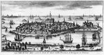 View of St. Malo (engraving) (b/w photo) Fine Art Print by Theodore de Bry