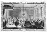 The Levee of King Louis XV (1710-74) (engraving) (b/w photo) Fine Art Print by Martin II Mytens or Meytens