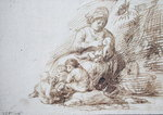 Woman Breastfeeding (pen & ink on paper) Fine Art Print by Alfred George Stevens