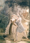 Blanca and Abon Hamet in the Gardens of the Alhambra, from 'Le Dernier des Abencerages' by Francois Rene (1768-1848) Vicomte de Chateaubriand (pen & ink and w/c on paper) Wall Art & Canvas Prints by French School