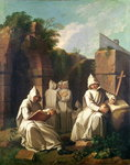 Carthusian Monks in Meditation (oil on canvas) Postcards, Greetings Cards, Art Prints, Canvas, Framed Pictures, T-shirts & Wall Art by French School