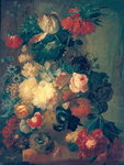 Flowers in a Vase with a Bird's Nest (oil on canvas) Wall Art & Canvas Prints by William Henry Hunt
