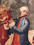 A Flautist, detail from a screen (oil on canvas)