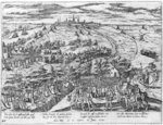 Protestants meeting in the open around Antwerp, 1576 (engraving) (b/w photo) Fine Art Print by French School