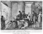 The Magic Lantern, 1798 (litho) (b/w photo) Fine Art Print by Pierre Lelu