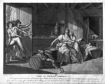 Act of heroic courage of a woman facing Vendean robbers having gained control of Saint-Mithier, 1793 (engraving) (b/w photo) Wall Art & Canvas Prints by William Henry Hunt